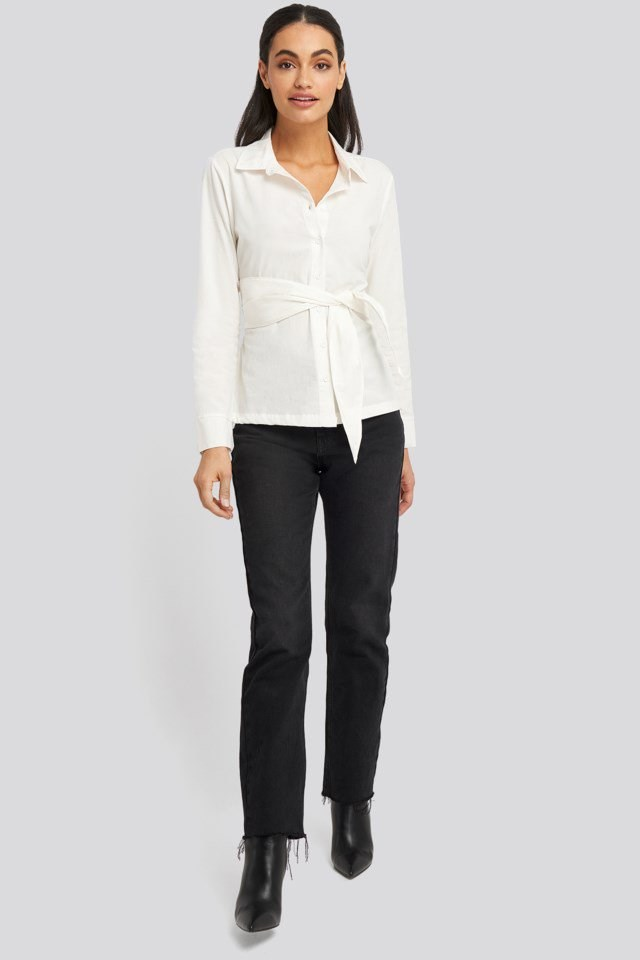 Belted Button Up Shirt Outfit.