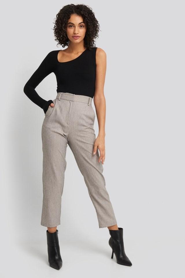 Cut Out Asymmetric Bodysuit Outfit