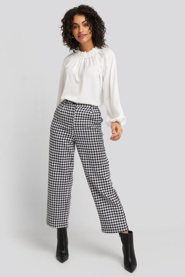 Gathered Neck Blouse Outfit