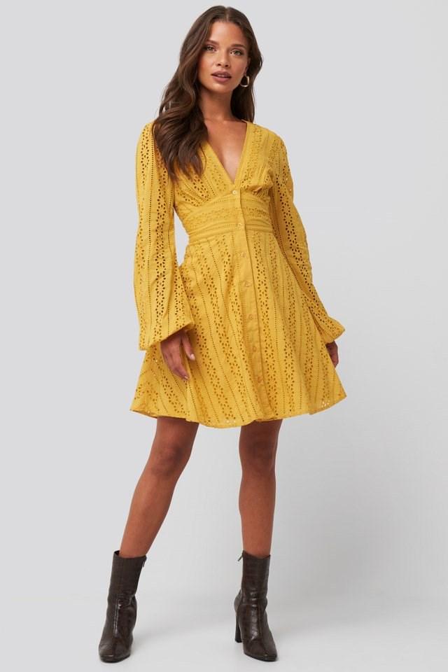 V-Neck Anglaise LS Mini Dress Look