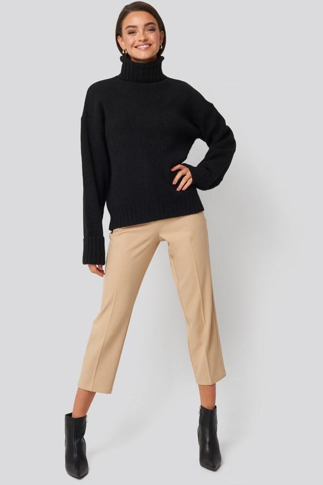 Folded Sleeve Oversize Sweater Look