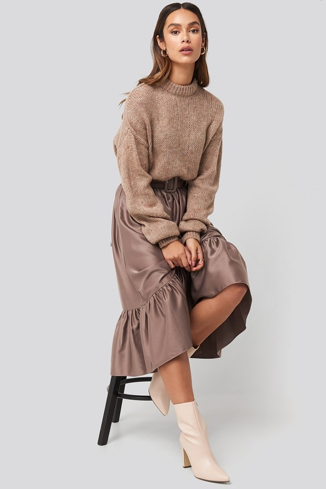 Belted Satin Skirt Copper Outfit.