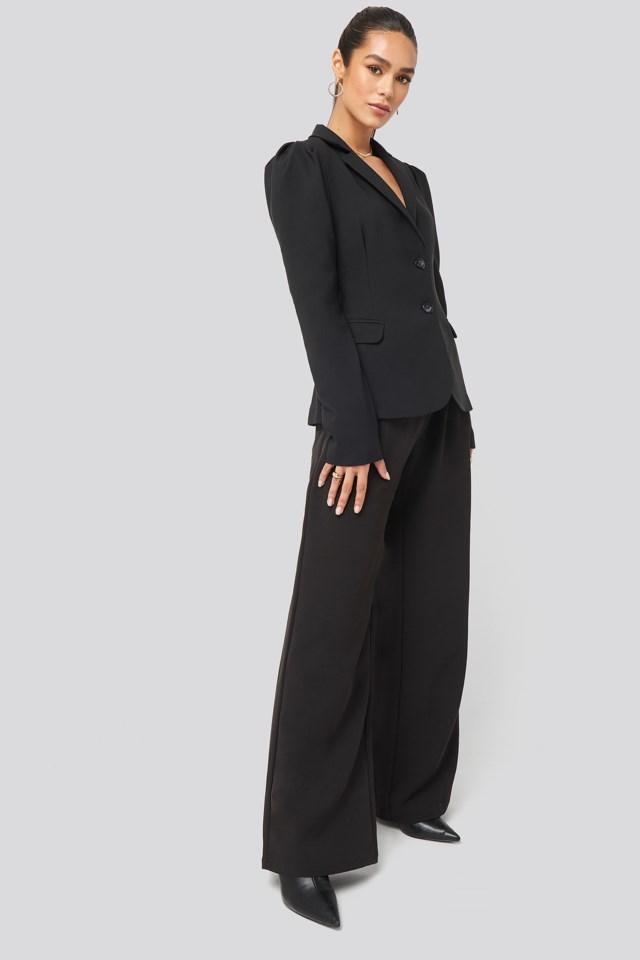 Puff Shoulder Blazer Outfit.