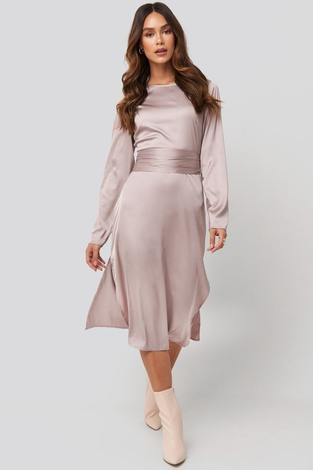 Belted Satin Midi Dress Look