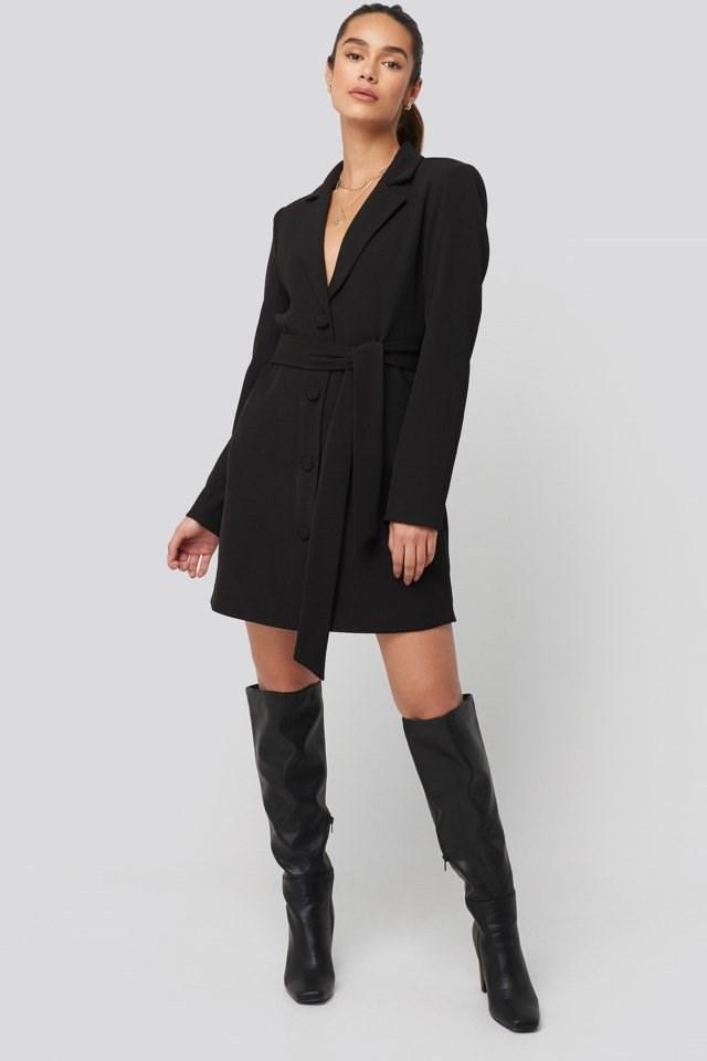 Tie Waist Short Blazer Dress