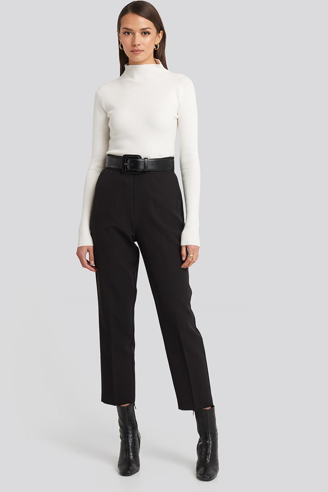 High Waist Cropped Suit Pants Black Outfit.