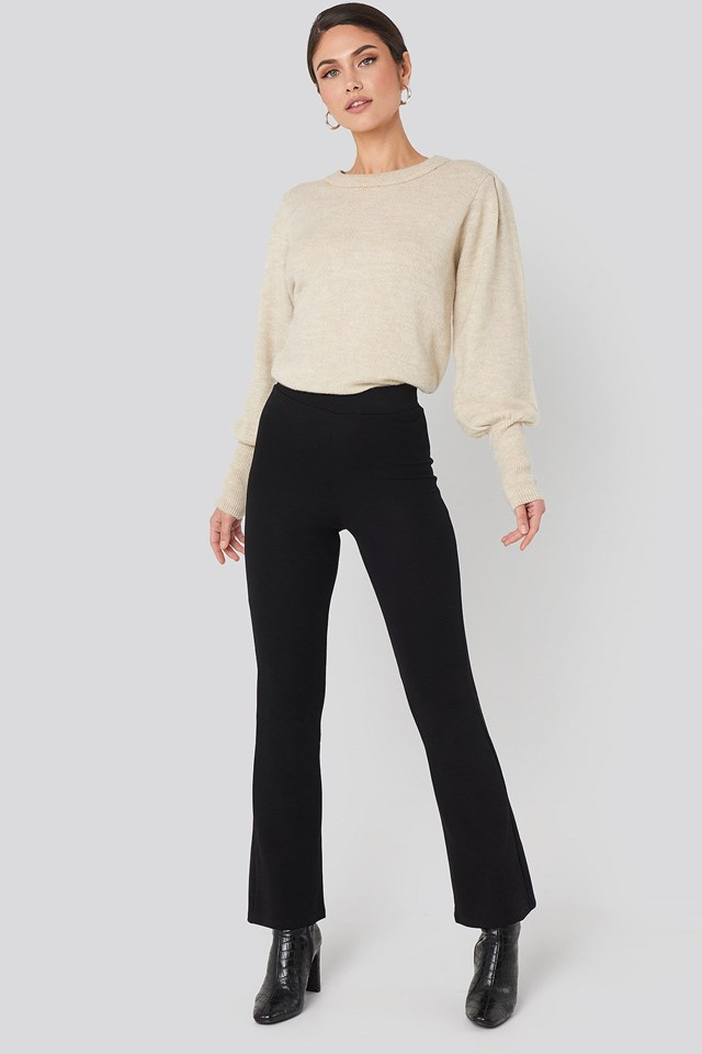 High Waist Flare Jersey Pants Black Outfit.