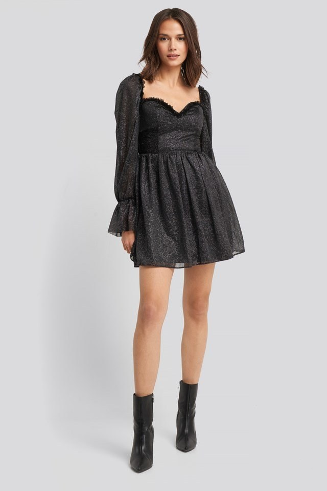 Ruffle Detail Mini Dress Look