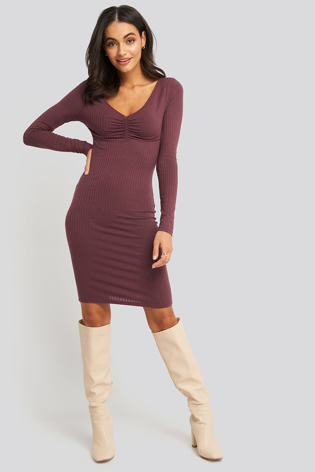Front Ruched Ribbed Dress Look