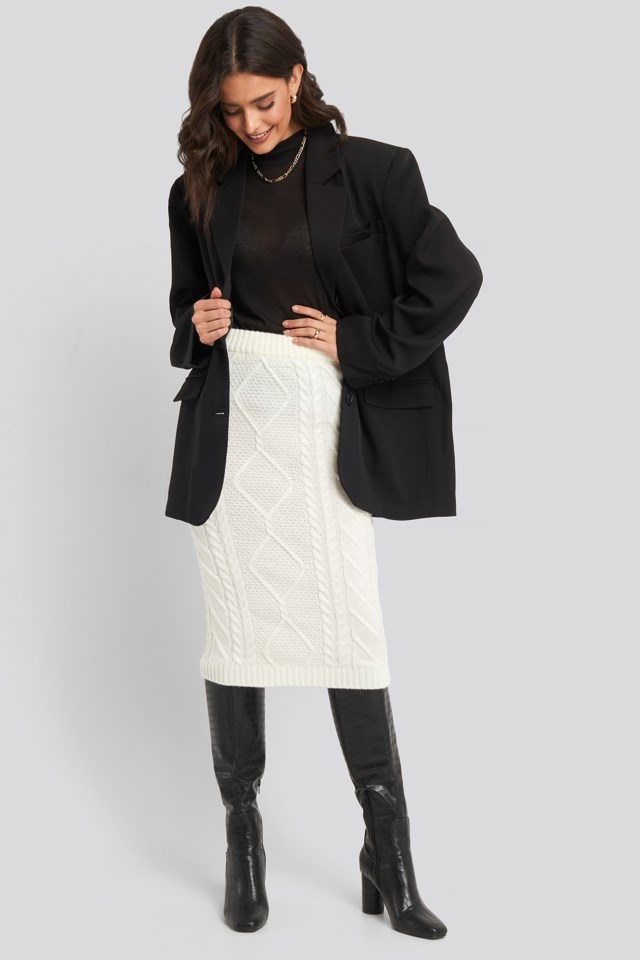 Knit Detail Midi Skirt Outfit.