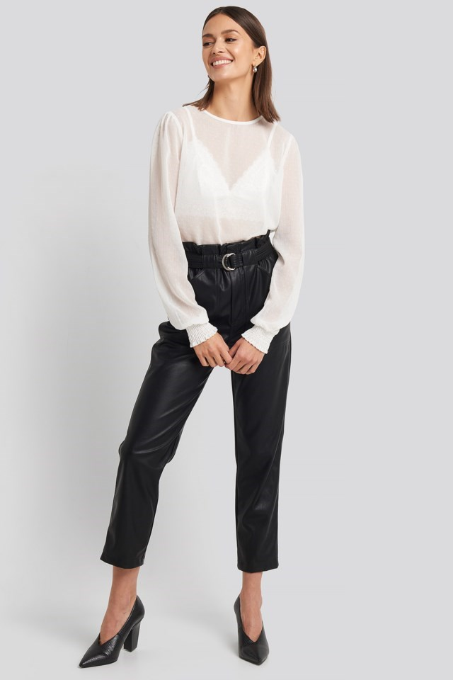 Sheer Dotted Round Neck Blouse Outfit