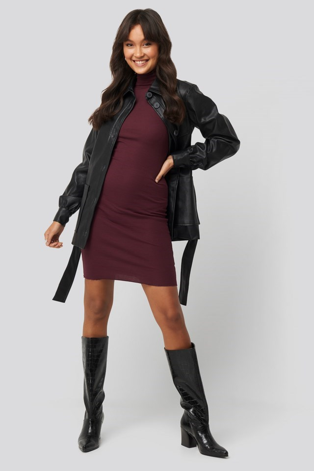 Style this jacket with a dress, knee-high boots and silver-colored jewelry.