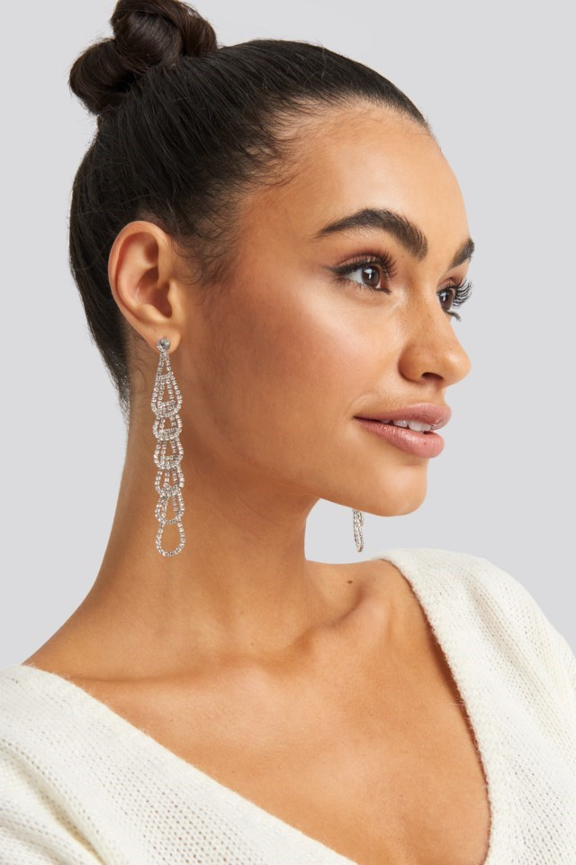 Rhinestone Connected Drops Earrings Silver Outfit.