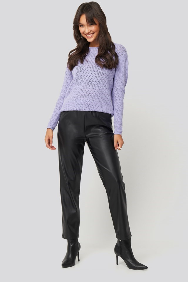 Lace Stitch Round Neck Sweater Purple Outfit.
