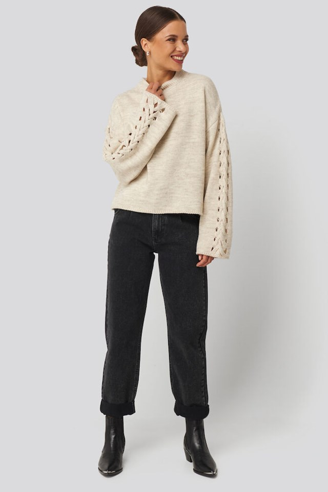 Detailed Sleeve Knitted Sweater Outfit