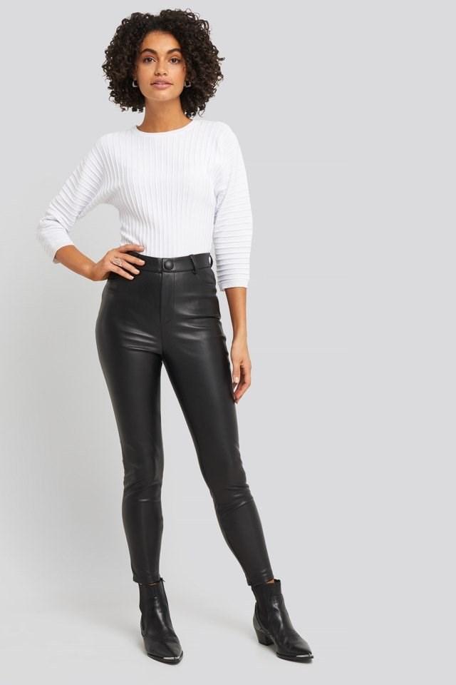 Big Button PU Pants Outfit