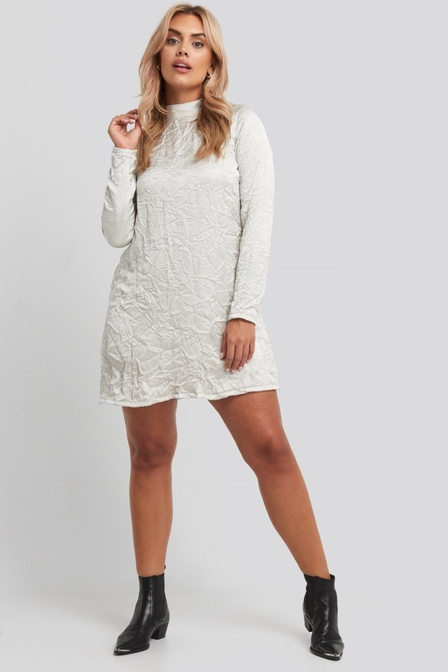 Creased Effect Long Sleeve Mini Dress Grey Outfit