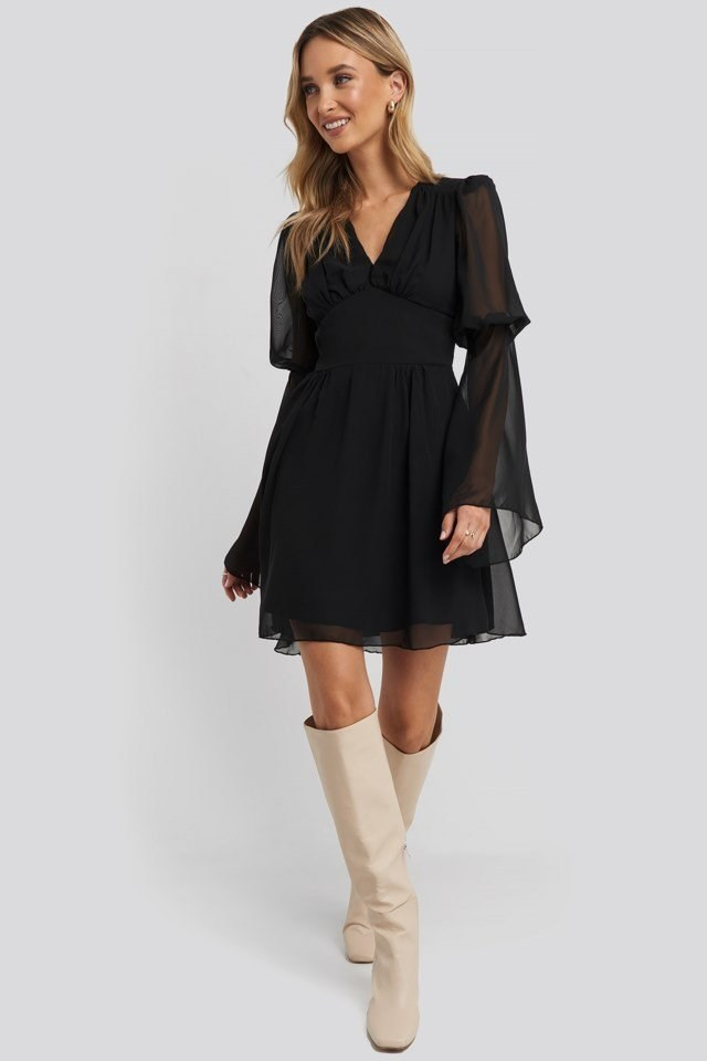Corsage Detailed Mini Dress Black Outfit