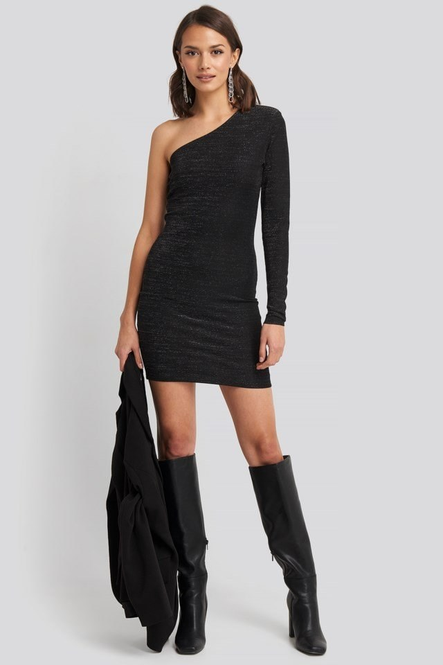 Padded Glittery One Shoulder Dress Black Outfit