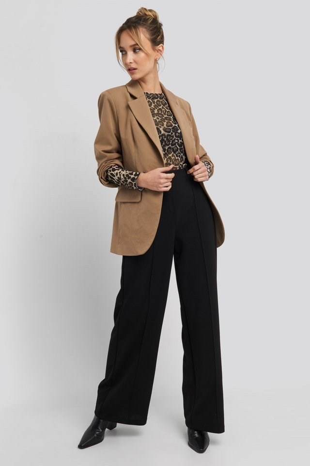 Stitch Detailed Wide Leg Pants Outfit