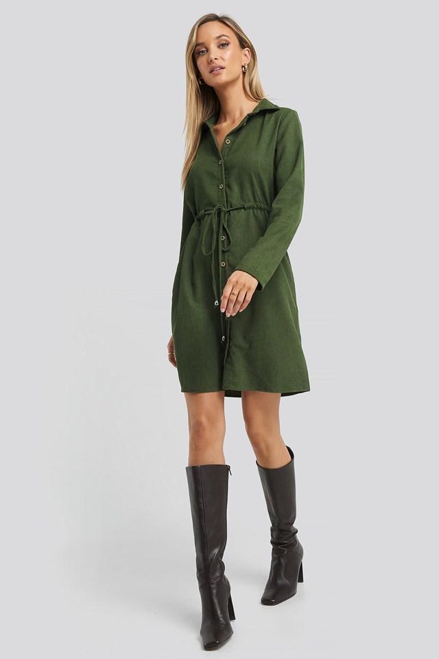 Ruffle Detail Mini Dress Green Outfit