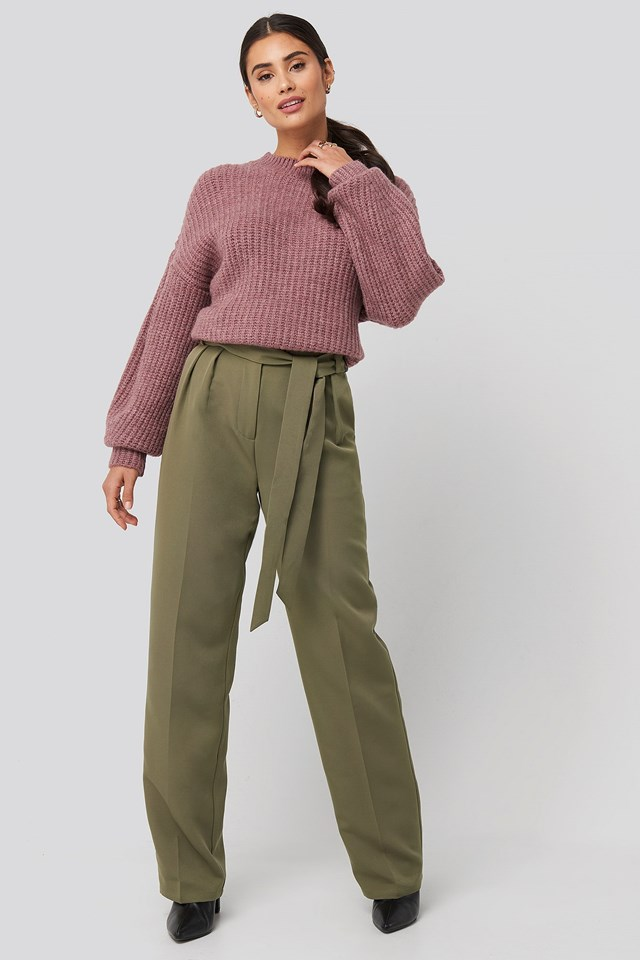 Dropped Shoulder Oversized Knitted Sweater Purple Outfit