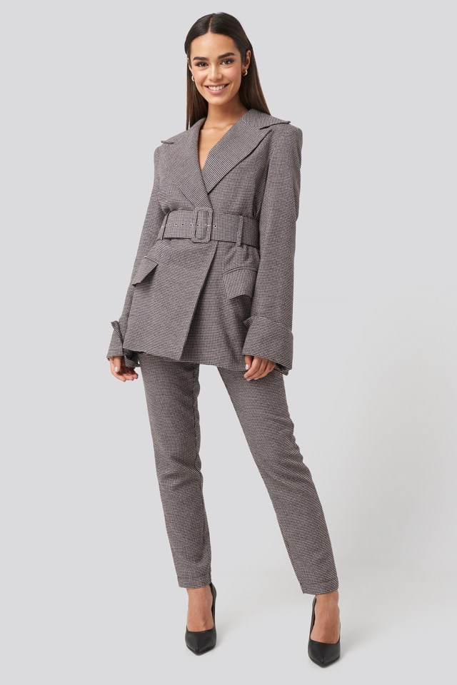 Petite Check Big Shoulder Blazer Outfit