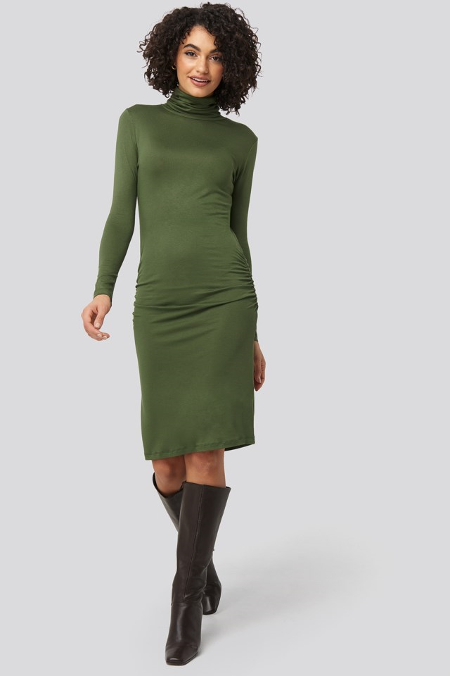 High Neck Mini Dress Green Outfit