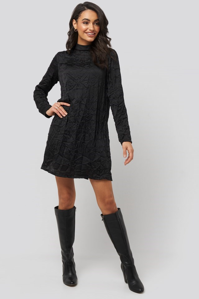 Creased Effect Long Sleeve Mini Dress Outfit.