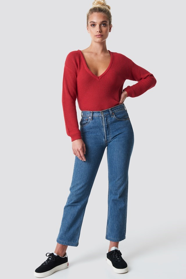 Deep Front V-neck Knitted Sweater Look