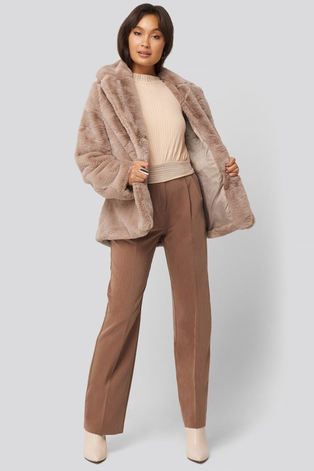 Colored Faux Fur Short Coat Pink Outfit