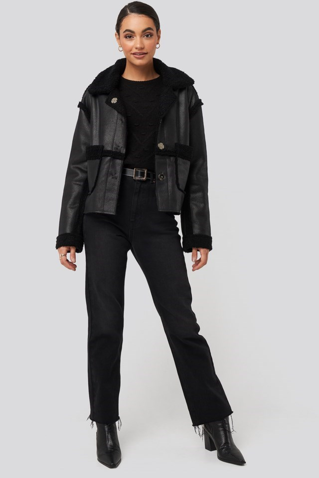 Front Pocket Teddy Jacket Black Outfit