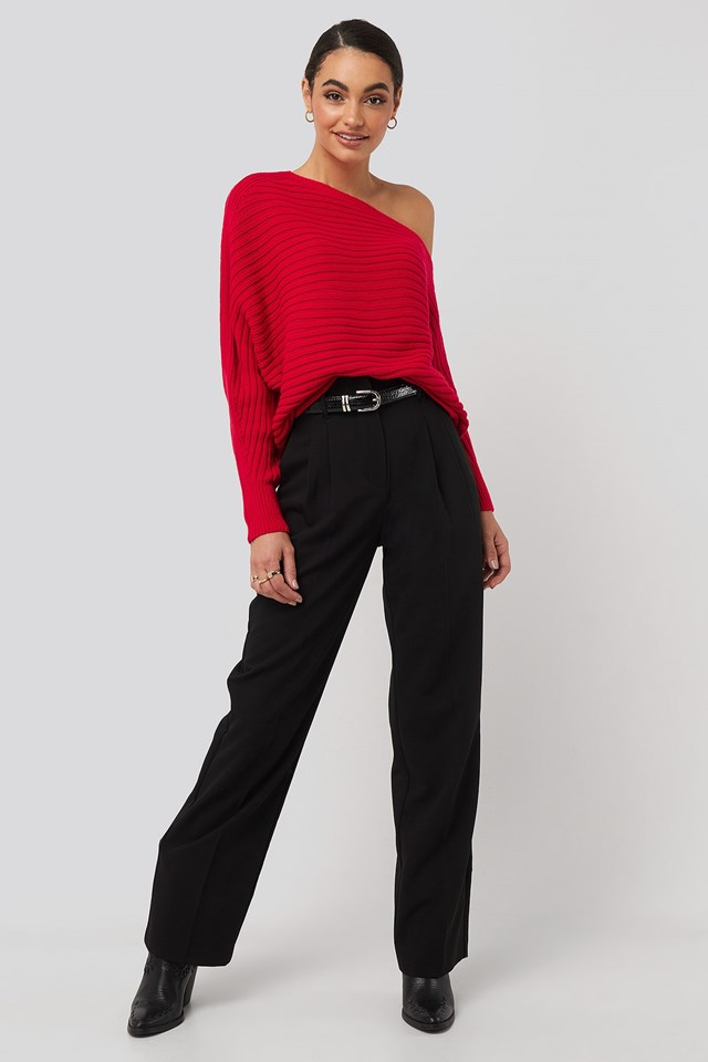 Boat Neck Knitted Sweater Outfit