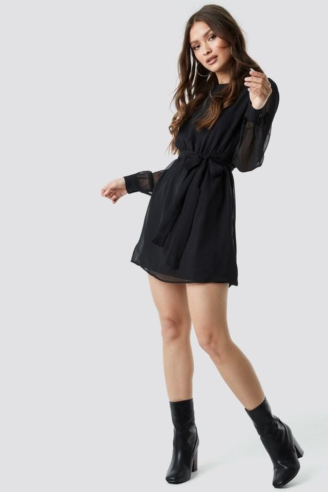 Chiffon Dress Black Outfit