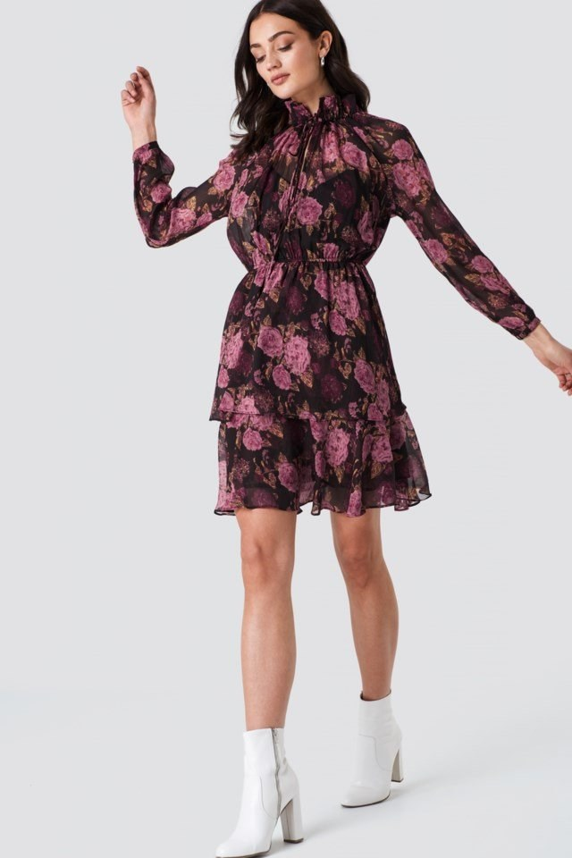 High Frill Neck Dress Multicolor Outfit