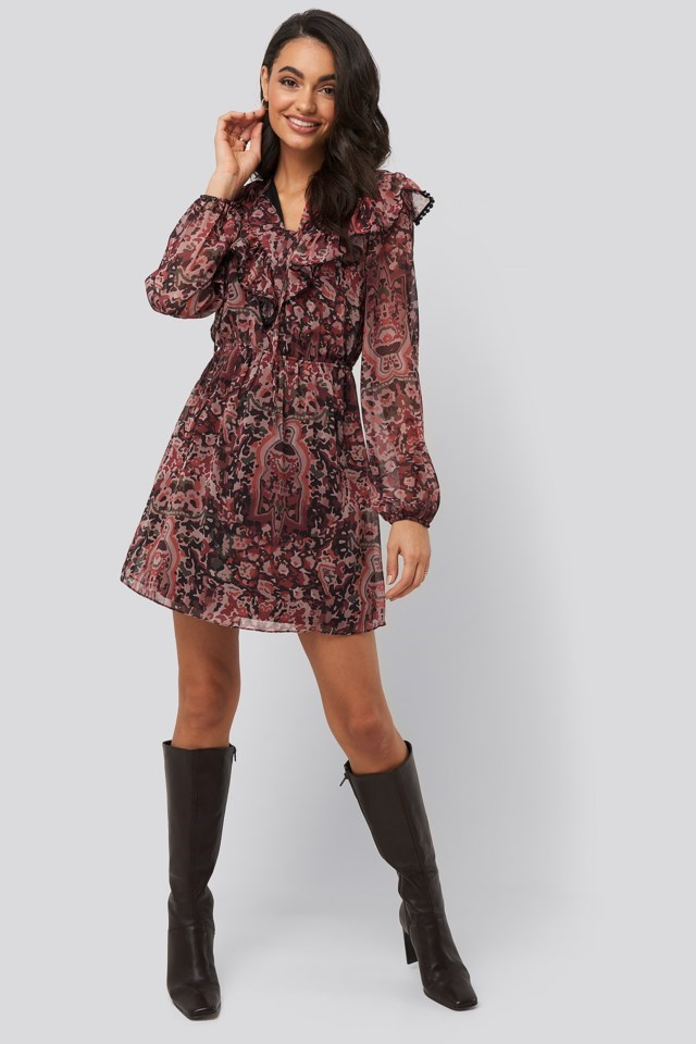Multi Colored Frilly Mini Dress Multicolor Outfit