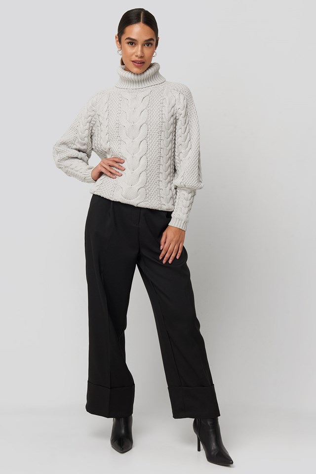 High Neck Cable Knitted Ribbed Sleeve Sweater Grey Outfit