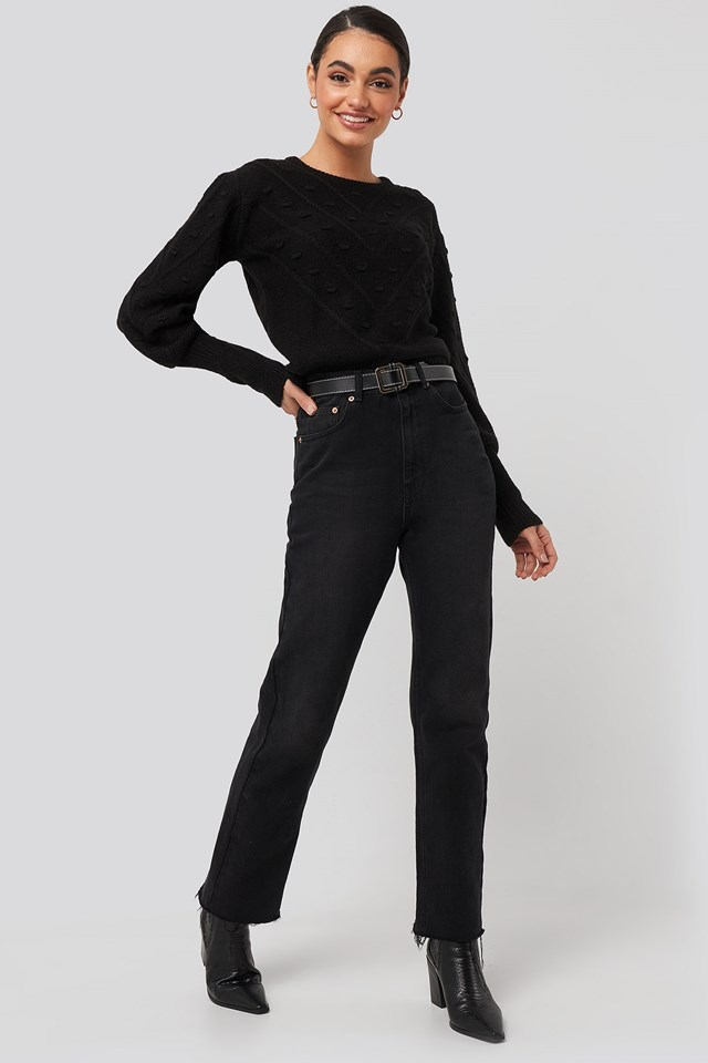 Bubble Detail Knitted Sweater Black Outfit
