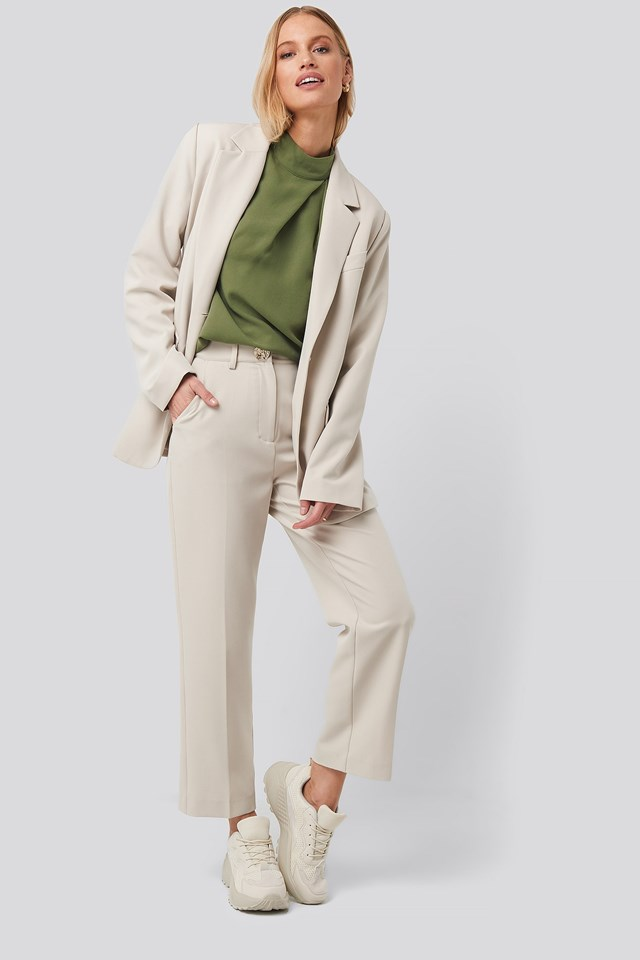 High Neck Wide Sleeve Blouse Green Outfit