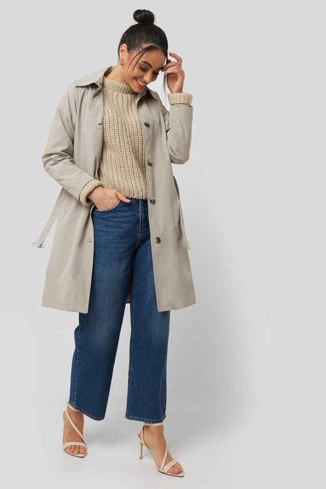 Silver Ring Belted Trench Coat Outfit
