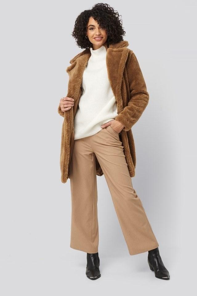 Faux Fur Long Coat Outfit