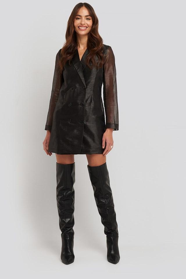 Organza Blazer Dress Black Outfit