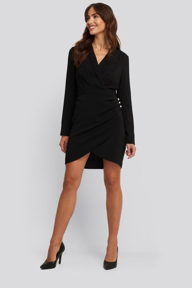 Wrapped Blazer Dress Black Outfit
