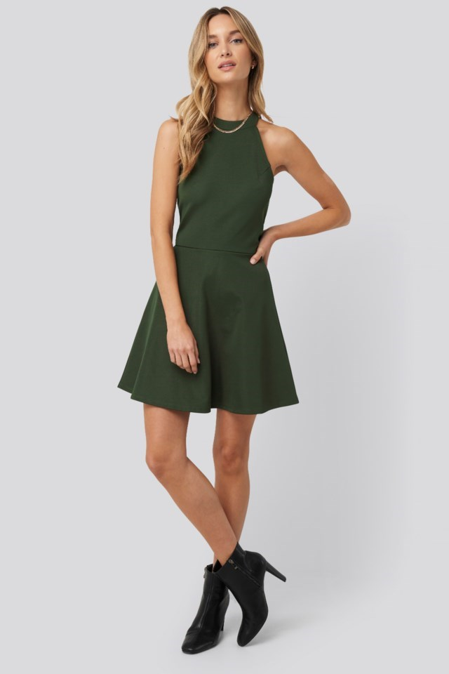 Halter Neck Skater Dress Outfit