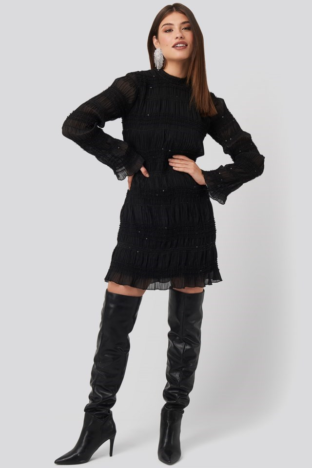 High Neck Sequins Detail Dress Black Outfit