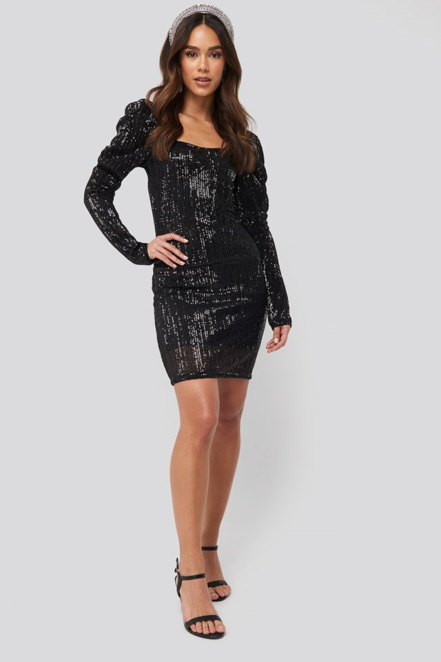 Puff Shoulder Sequin Mini Dress Black Outfit