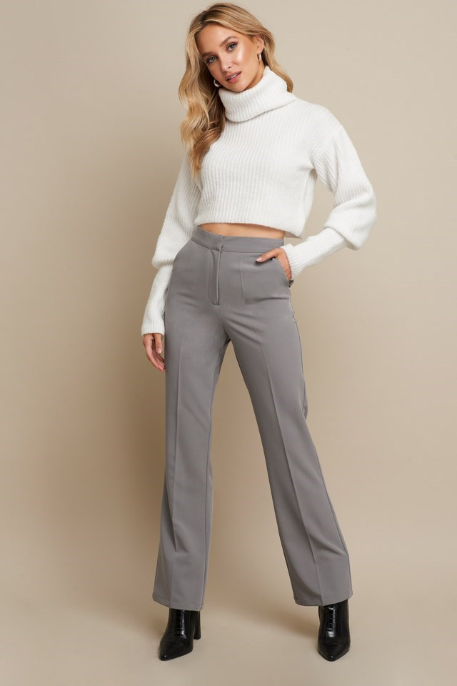 High Neck Cropped Sweater White Outfit