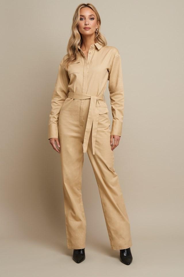Front Pocket Jumpsuit Beige Outfit