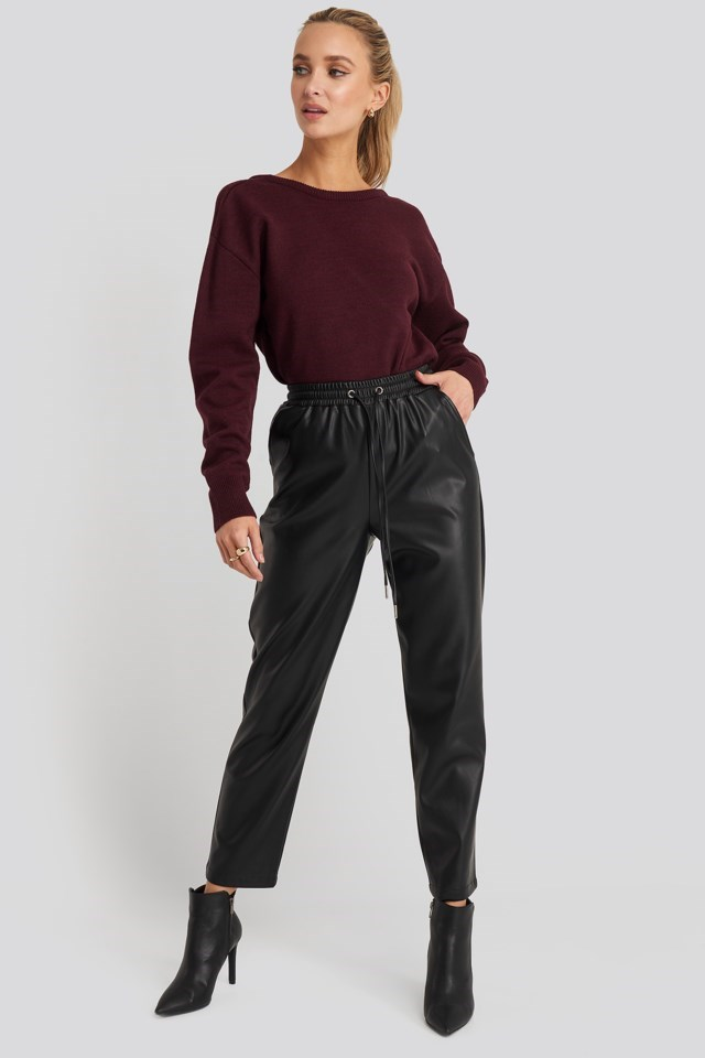 V-shape Deep Back Sweater Outfit
