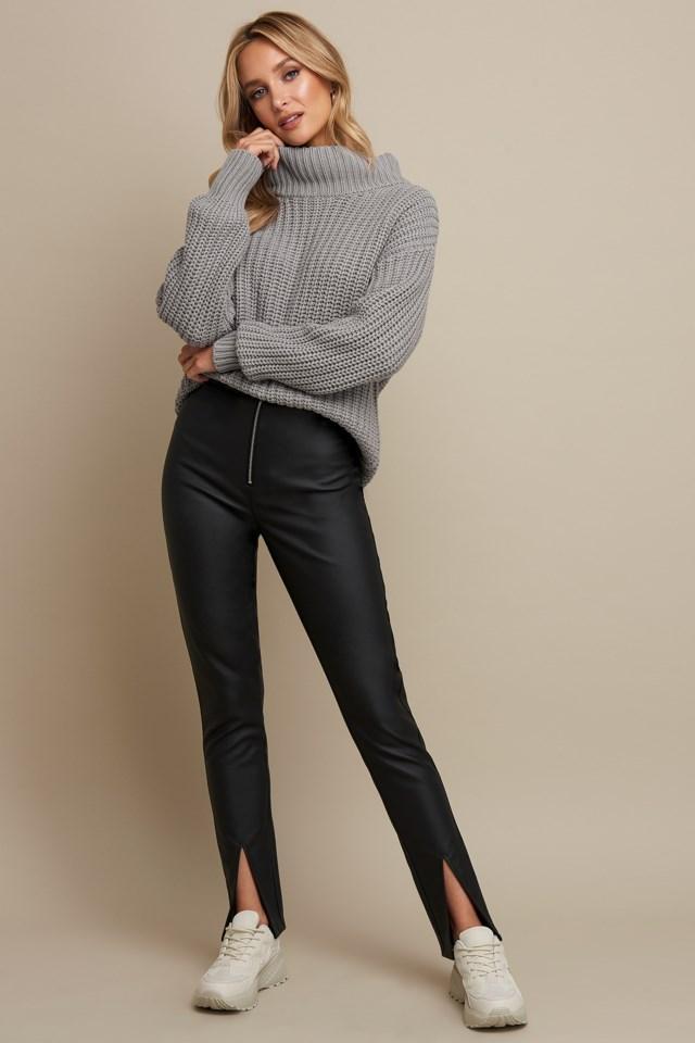 Front Slit PU Zipper Pants Black Outfit